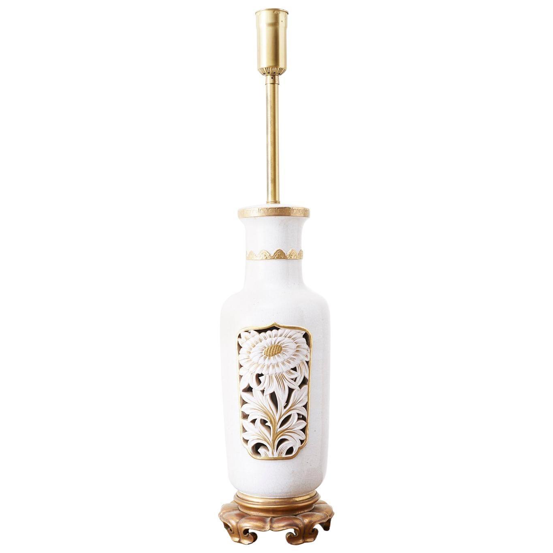 Marbro Parcel-Gilt Ceramic Vase Table Lamp