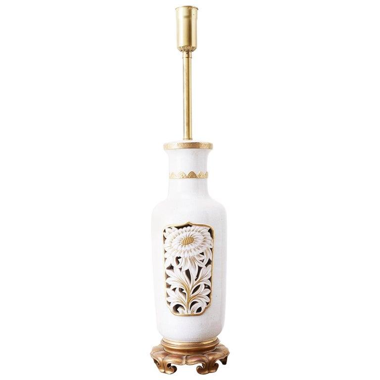 Marbro Parcel-Gilt Ceramic Vase Table Lamp For Sale