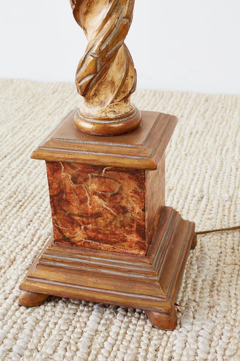 Marbro Venetian Style Giltwood Column Table Lamp For Sale 4