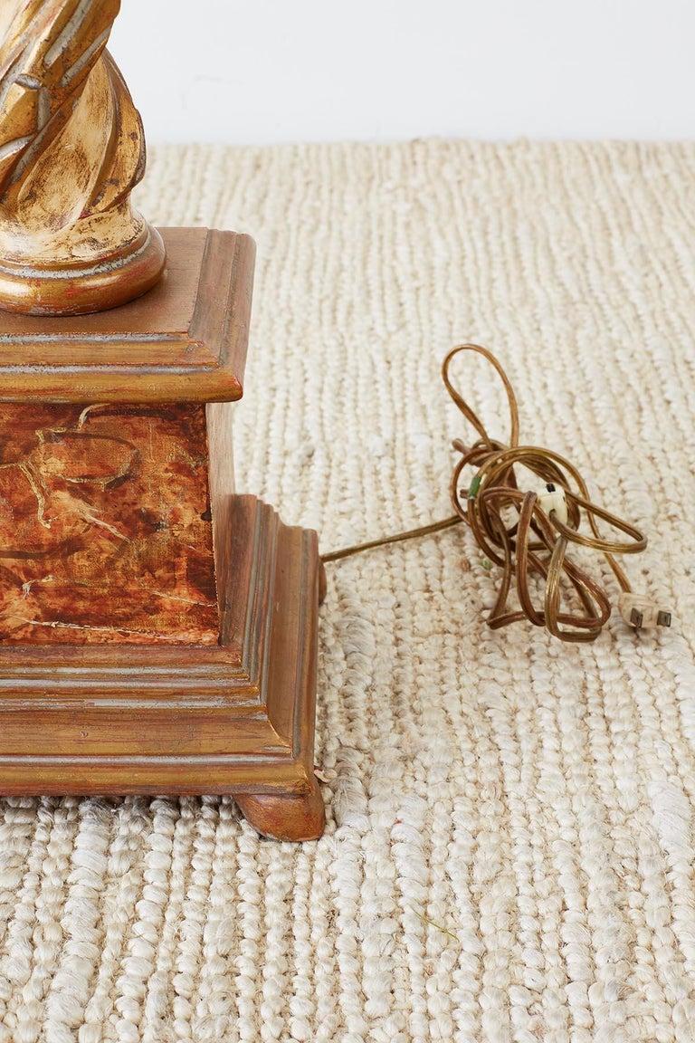Marbro Venetian Style Giltwood Column Table Lamp For Sale 5