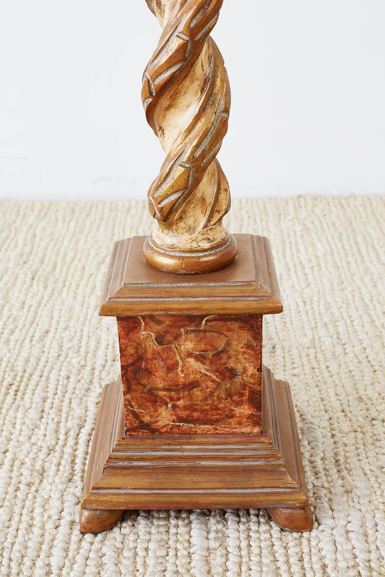 20th Century Marbro Venetian Style Giltwood Column Table Lamp For Sale