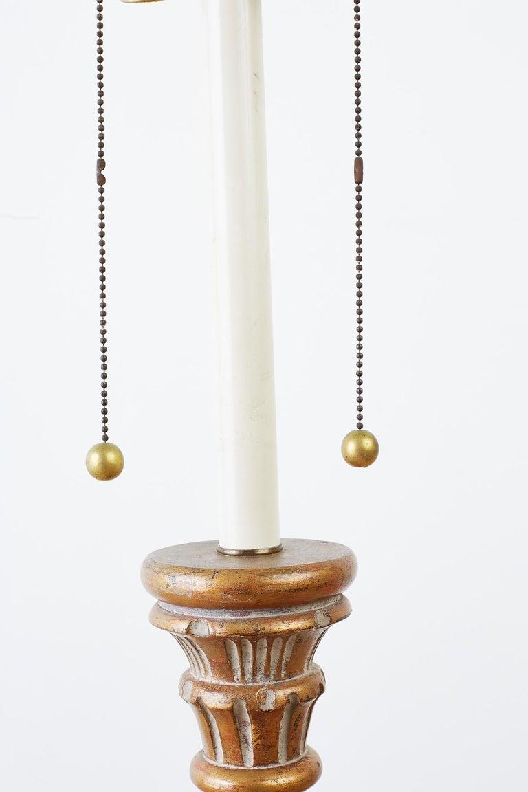 Wood Marbro Venetian Style Giltwood Column Table Lamp For Sale