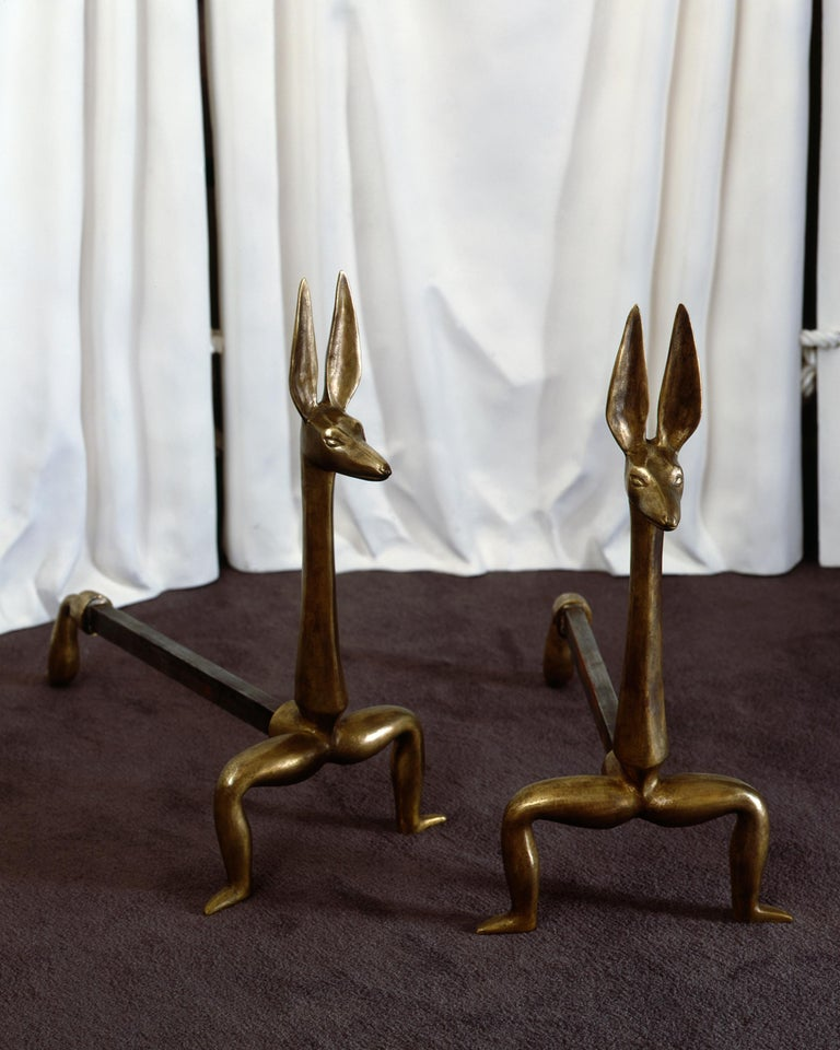 Marc Bankowsky, Anubis, Pair of Bronze Andirons, France, 2006 In Excellent Condition For Sale In New York, NY