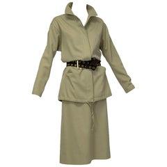 Marc Bohan Christian Dior Demi-Couture Khaki Safari Suit, Paris - M, late 1960s