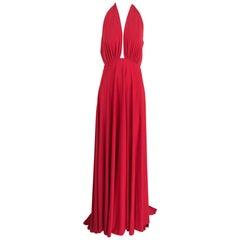Marc Bouwer Matte Red Jersey Plunge Halter Dress Super Model Length
