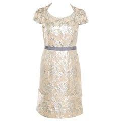 Marc By Marc Jacobs Beige Floral Lurex Jacquard Contrast Waistband Dress S