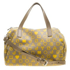 Marc by Marc Jacobs Beige/Yellow Coated Canvas Easy Bowling Bag