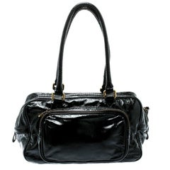 Marc by Marc Jacobs Black Laminated Leather Zip Pockets Satchel