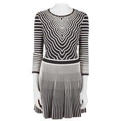 Marc by Marc Jacobs Black Radio Waves Intarsia A Line Dress XS