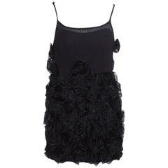 Marc by Marc Jacobs Black Rosette Applique Silk Blend Mini Dress M