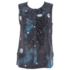 Marc by Marc Jacobs Black Stargazer Print Cotton Silk Ruffled Sleeveless Top S