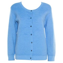Marc by Marc Jacobs Bright Periwinkle Blue Jacquard Ribbed Knit Cardigan M