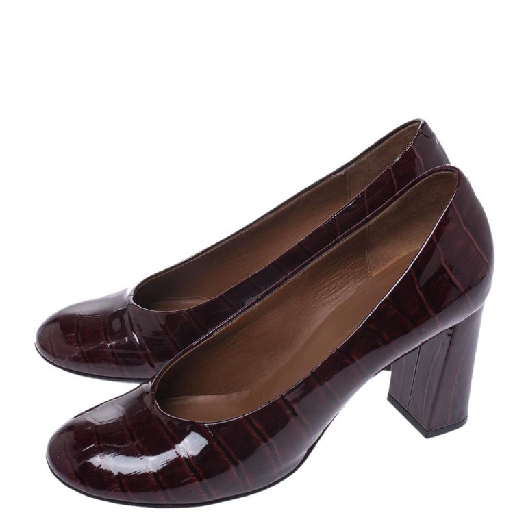 Women's Marc by Marc Jacobs Burgundy Patent Leather Block Heel Pumps Size 38.5 For Sale