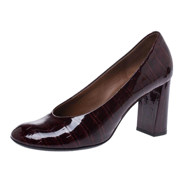 Marc by Marc Jacobs Burgundy Patent Leather Block Heel Pumps Size 38.5 For Sale