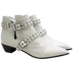 Marc by Marc Jacobs Carroll White Leather Studded Ankle Boots 41