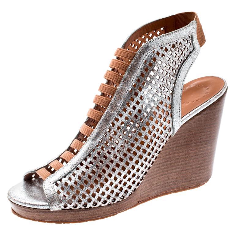 Marc by Marc Jacobs Metallic Leather Susanna Wedge Platform Sandals Size 40.5