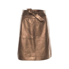 Marc by Marc Jacobs Metallic Partridge  Waist Tie Detail Leather Skirt S