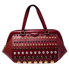 Marc by Marc Jacobs Red Leather Studded Thunderdome Satchel