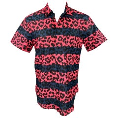 MARC by MARC JACOBS Size L Pink & Navy Leopard Print Cotton Short Sleeve Shirt