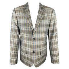MARC by MARC JACOBS Size L Teal Blue Plaid Silk Notch Lapel Sport Coat