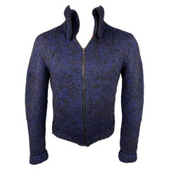 MARC by MARC JACOBS Size S Black & Blue Knitted Wool / Mohair Zip Up Cardigan