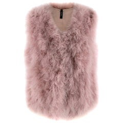 Marc Cain Pink Feather Gillet - Size N 3 Medium