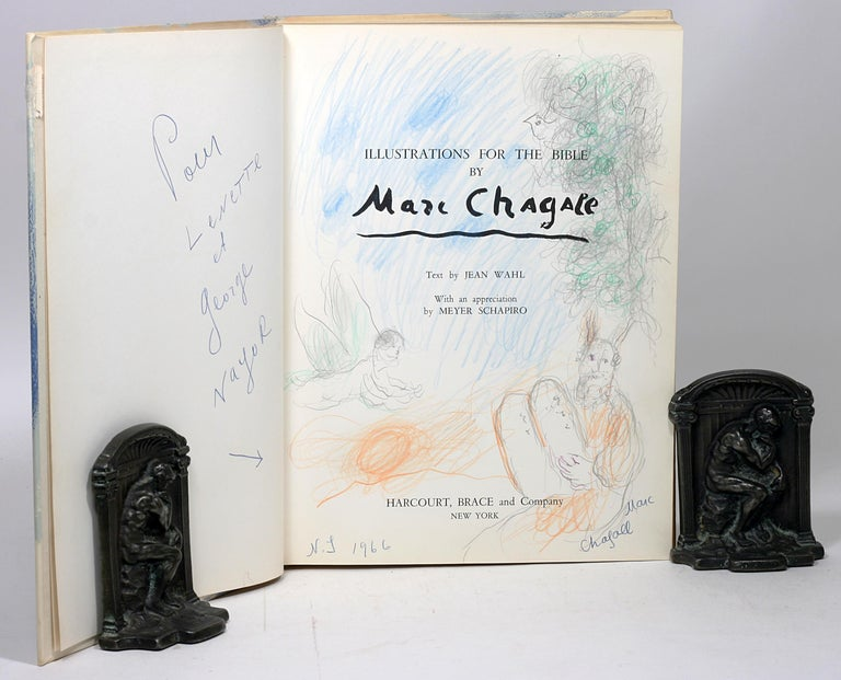 """First American edition,inscribed by Chagall and with stunning original full-page color drawing of Moses receiving the tablets on title page. With important provenance.   """"If we had nothing of Chagall but his Bible he would be for us a great"""