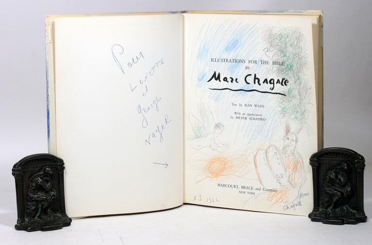 Modern Marc Chagall, Illustrations for the Bible, with Original Color Drawing of Moses For Sale