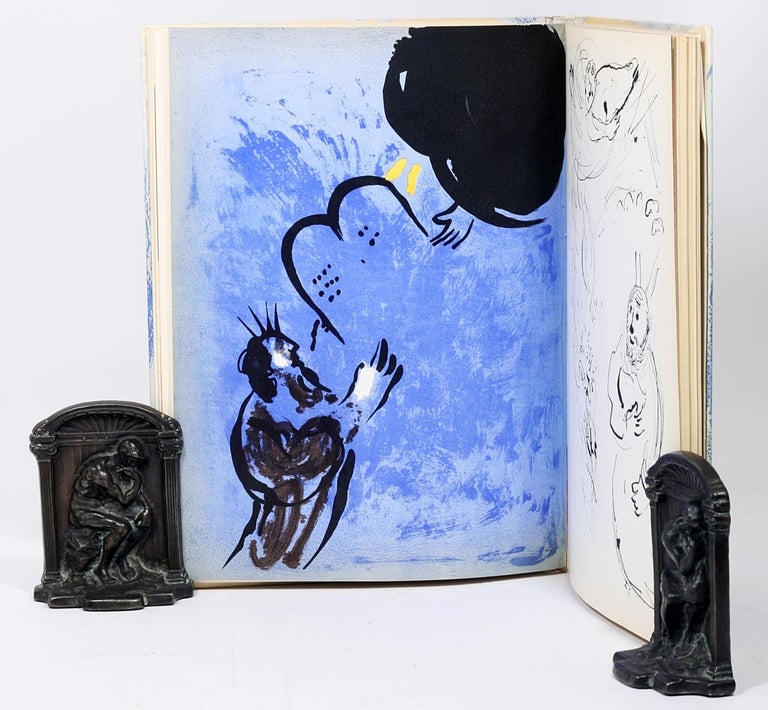 American Marc Chagall, Illustrations for the Bible, with Original Color Drawing of Moses For Sale