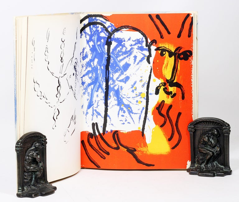Mid-20th Century Marc Chagall, Illustrations for the Bible, with Original Color Drawing of Moses For Sale