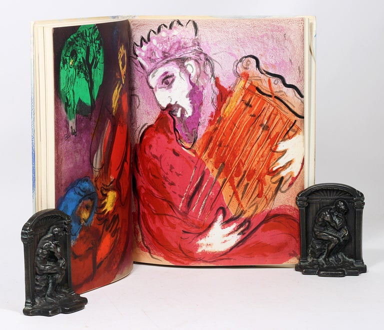 Paper Marc Chagall, Illustrations for the Bible, with Original Color Drawing of Moses For Sale