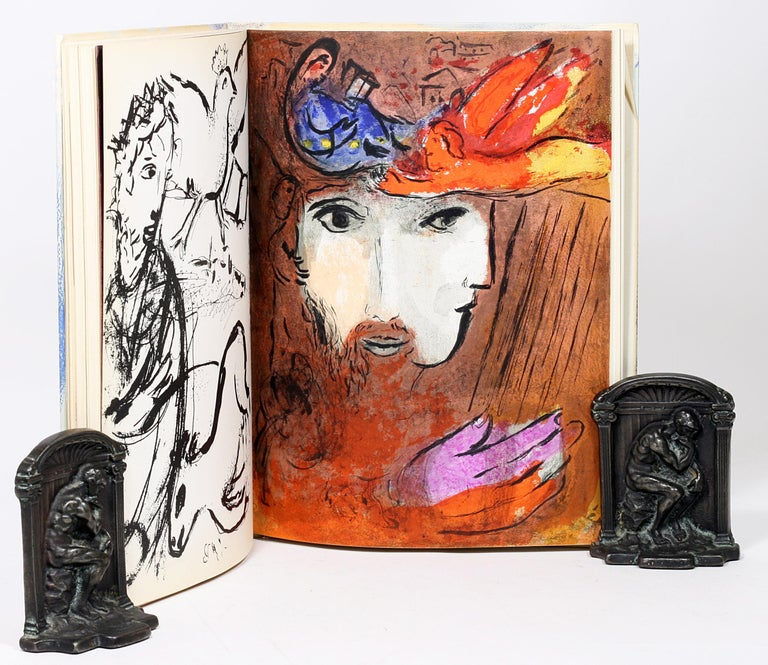 Marc Chagall, Illustrations for the Bible, with Original Color Drawing of Moses For Sale 1