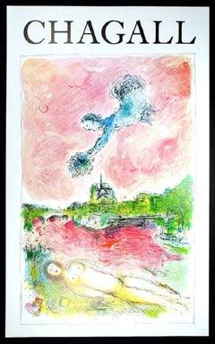 """Marc Chagall - """"Vue sur Notre Dame"""" - Color Offset Lithography"""