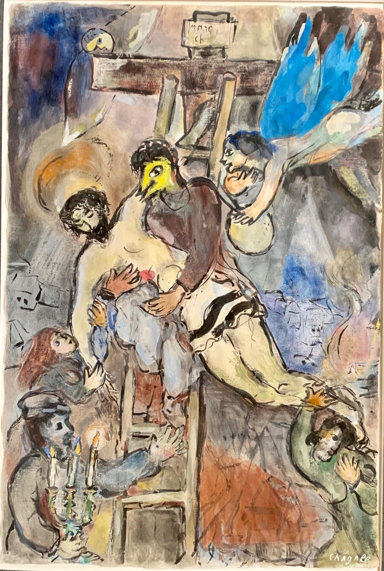Marc Chagall, Descent From The Cross, unique gouache  - Painting by Marc Chagall