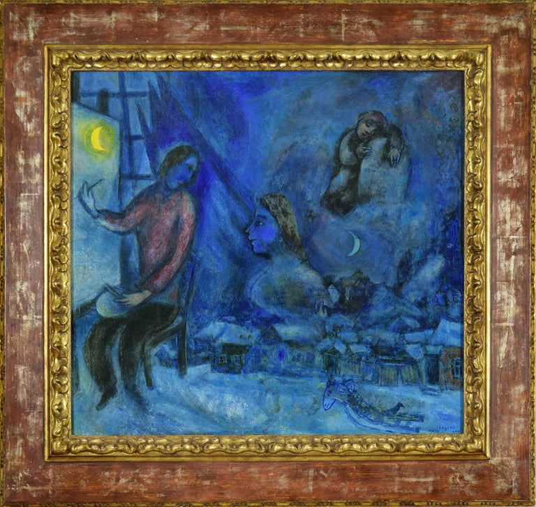 Hommage au Passé ou la Ville by MARC CHAGALL (1887-1985)  Oil on canvas 71.3 x 75.9 cm (28 ¹/₈ x 29 ⁷/₈ inches) Signed and dated lower right, Marc Chagall 944 Executed in 1944  Provenance Pierre Matisse Gallery, New York, by 1948 Dr J.J. Mayers, New
