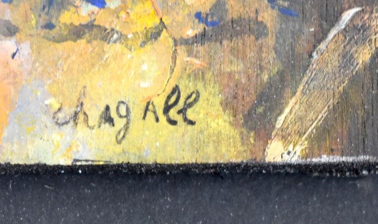 MARC CHAGALL 1887-1985 [Shagal, Mark, Zakharovich, Moses]  Vitebsk, Belarus 1887-1985 Saint-Paul-de-Vence, Alpes-Maritimes   Title: Lovers with Bouquet  Les Amoureux au bouquet, ca. 1955  Technique: Signed Oil Painting on Board  Size: 14 x 10 cm. /