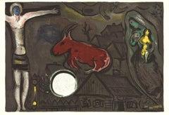 1950 Marc Chagall 'Derriere le Miroir, no. 27-28' Modernism Multicolor,Brown