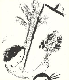 1957 Marc Chagall 'Bouquet with Hand' Modernism Black & White France Lithograph