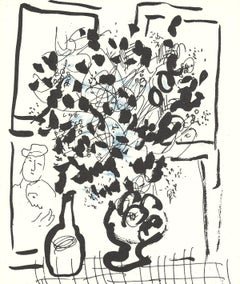 1957 Marc Chagall 'The Black and Blue Bouquet' Modernism Black & White