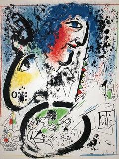 1960 Marc Chagall 'Self Portrait - Frontespiece' Modernism Multicolor,Blue