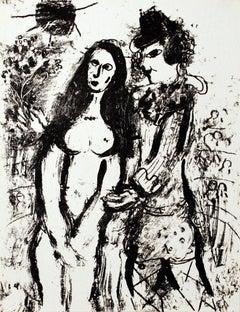 1963 Marc Chagall 'Clown in Love' Modernism Black & White France Lithograph