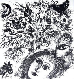 1963 Marc Chagall 'Couple Beside Tree' Modernism Black & White France Lithograph