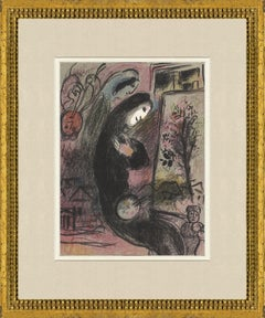 1963 Marc Chagall 'Inspired' Modernism Multicolor France Lithograph Framed