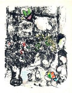 1963 Marc Chagall 'Nature Morte Au Bouquet' Modernism Multicolor,Black & White