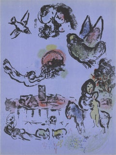 1963 Marc Chagall 'Nocturne in Vence' Modernism Multicolor,Purple France