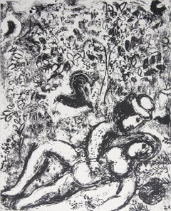 1963 Marc Chagall 'The Pair in a Tree' Modernism Black & White France Lithograph