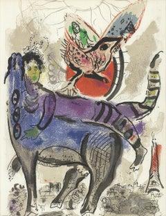 1967 Marc Chagall 'La vache bleue' Modernism France Lithograph