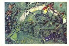 1969 Marc Chagall 'DLM No. 182 Pages 12,13' Modernism Blue,Green,White Offset Li