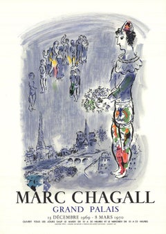 1970 After Marc Chagall 'The Magician Of Paris' Modernism France Lithograph