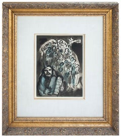 1973 Marc Chagall 'Moses and Tablets' Modernism Gray,Blue France Lithograph Fram